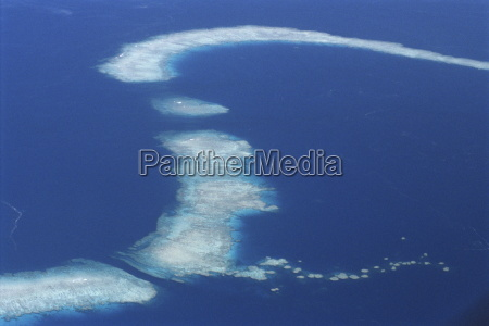 aerial of offshore reef systems in