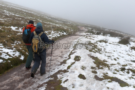 hikers descend from pen y fan
