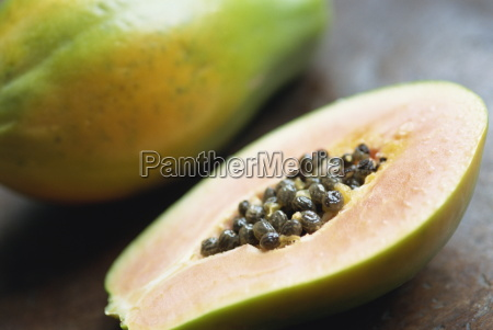 close up of a papaya sliced