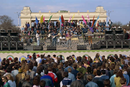 crowds at a concert during the