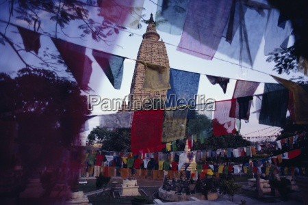 prayer flags at the maha bodhi
