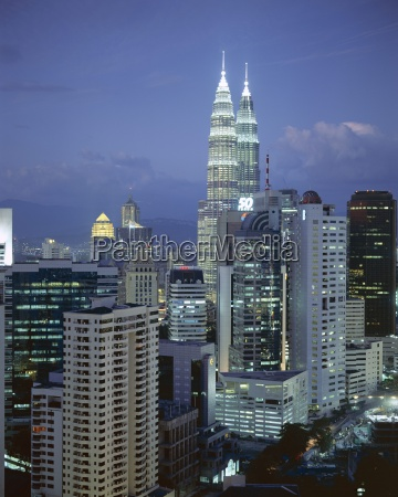 city skyline in the evening with