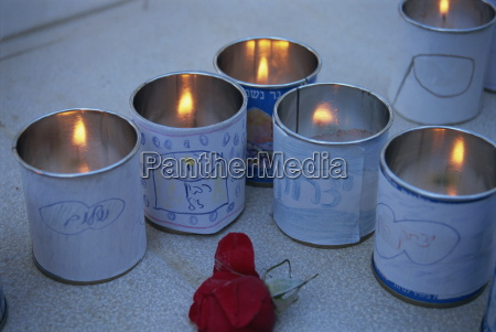 memorial candles and childrens drawings at
