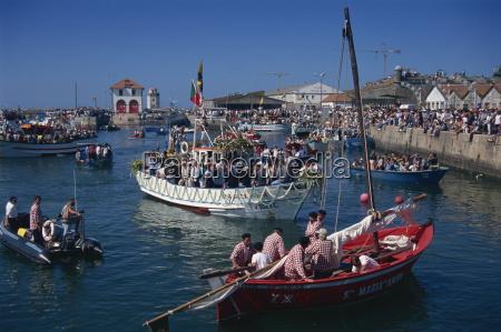 religious procession at sea romaria de