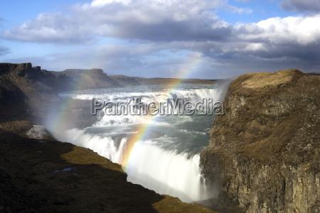 gullfoss europes biggest waterfall with rainbow