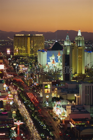 elevated view of hotels and casinos