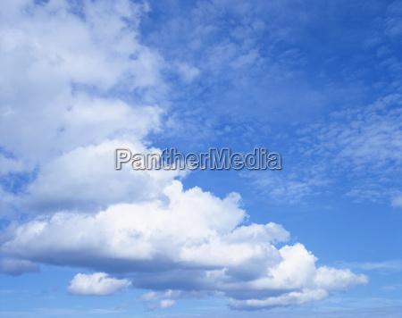 cloudscape of white clouds in blue