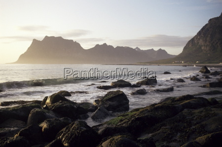 midnight sun summertime lofoten islands arctic
