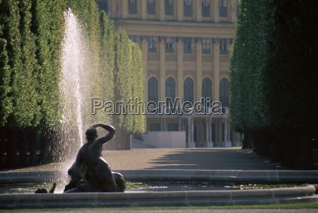 fountain and palace facade schonbrunn gardens
