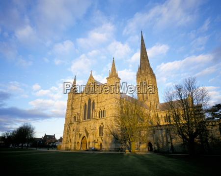 west front at dusk salisbury cathedral