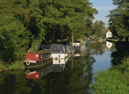 moored boats on the wey navigation