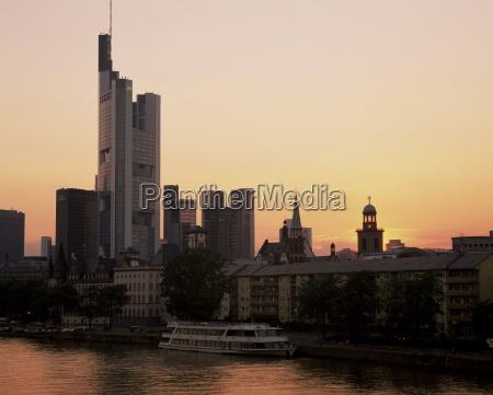 city skyline at sunset frankfurt am