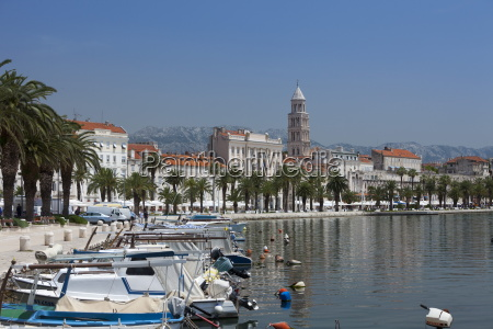 waterfront harbour and cathedral split croatia