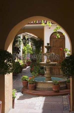 typical courtyard oaxaca city oaxaca mexico