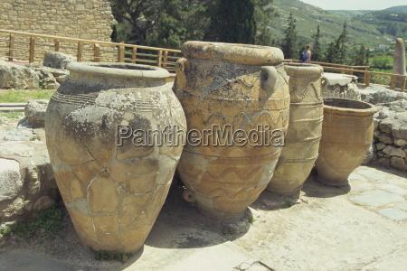 large storage jars knossos crete greece
