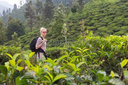 female tourist enjoying beautiful nature of