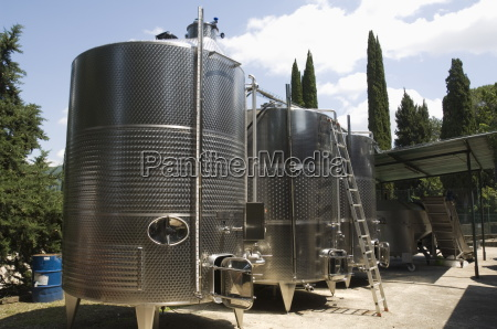 stainless steel fermentation vats at the