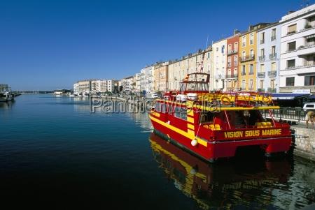 pleasure boat moored along the marine