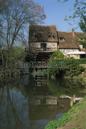 water mill on quiet stretch of