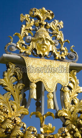 detail of ornamental wrought iron gate