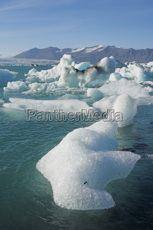 icebergs in the glacial melt water