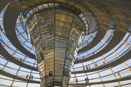 visitors walk up a spiral ramp