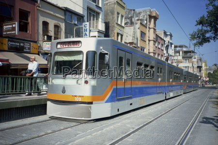 modern tram in sultanahmet area of