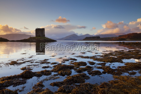 silhouette of castle stalker a tower