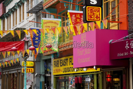 colourful flags banners and shopfronts in