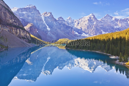 moraine lake reflections in the valley