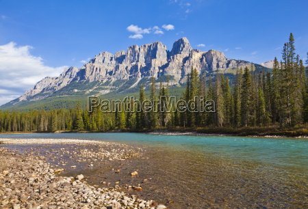 castle mountain behind the bow river