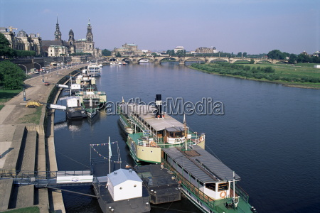 river elbe and city skyline dresden