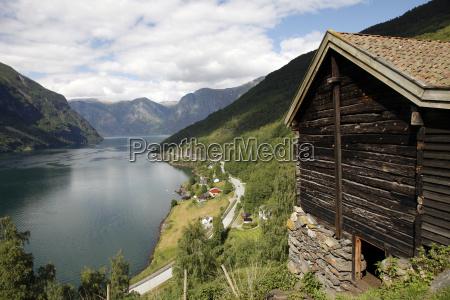 aurlandsfjorden near flam sogn og fjordane
