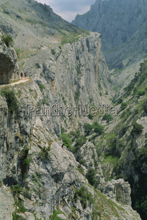 walkers on a narrow mountain road