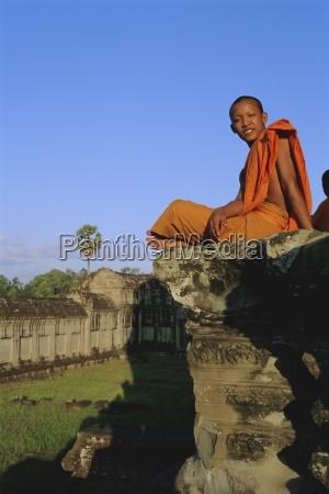 buddhist monk at angkor wat angkor
