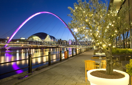 view along newcastle quayside at night