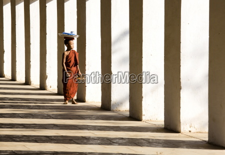 novice buddhist monk standing in the