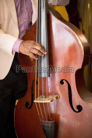 detail of double bass being played