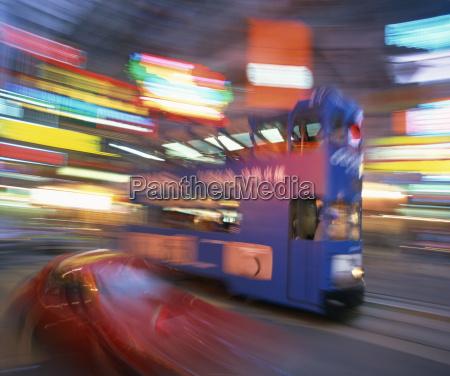 tram in blurred motion at dusk