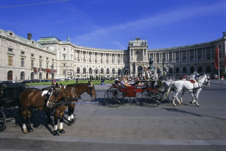 neue hofburg and fiaker horse drawn