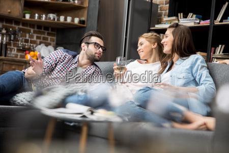happy friends chatting