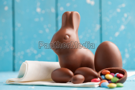 delicious chocolate easter bunny eggs and