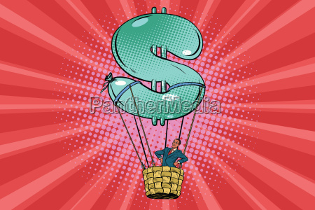 businessman in a hot air balloon