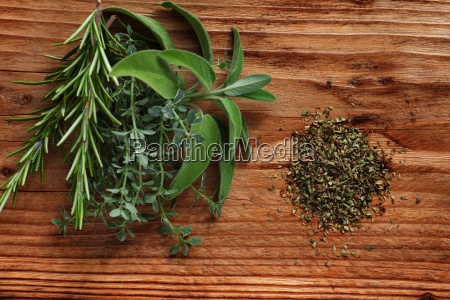 fresh spice herbs on rustic wood