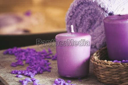 purple spa setting