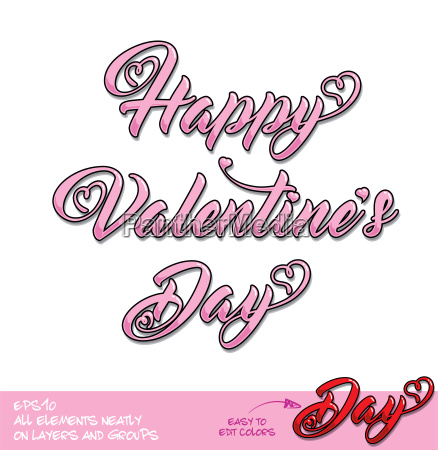 happy valentines day pink lettering center