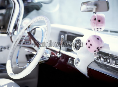 close up of steering wheel and