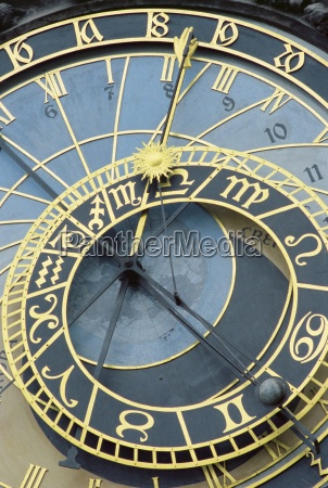 detail of old town clock on