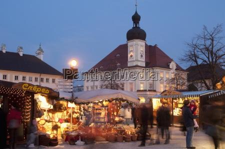 christmas market christkindlmarkt stalls and town