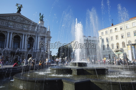 fountain in front of ivano franko